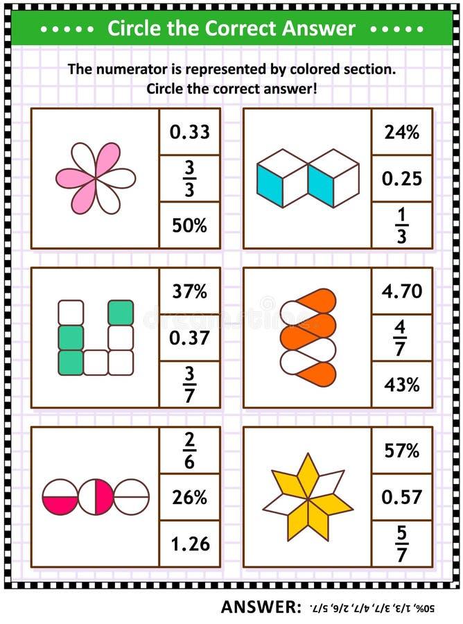 Puzzle ou fiche de travail de formation de qualifications de maths avec les fractions visuelles illustration stock