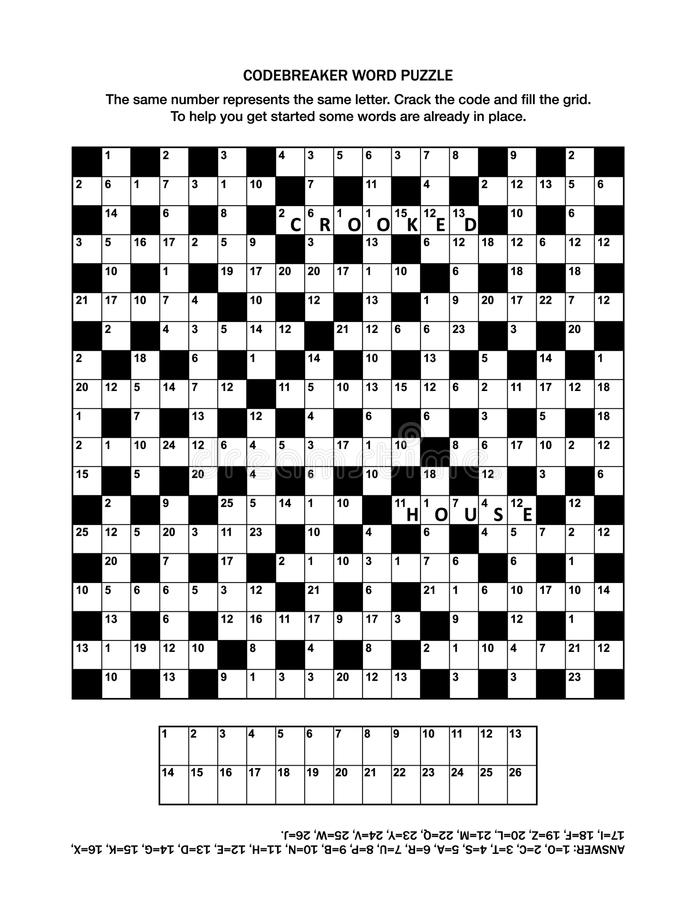 Puzzle page with codebreaker word game stock illustration