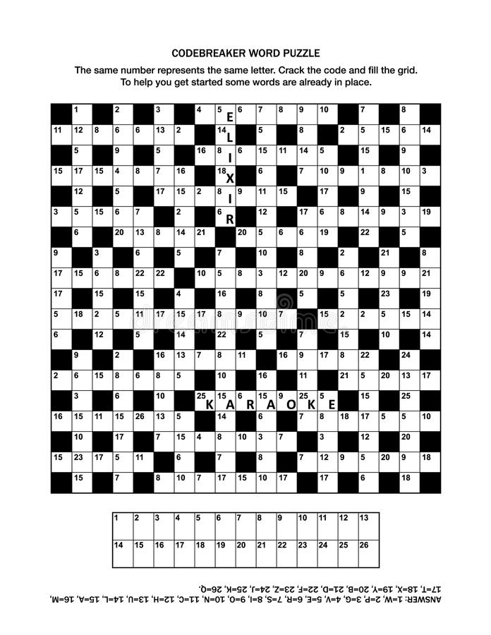 Puzzle Page With Codebreaker Word Game Or Crossword Puzzle Stock