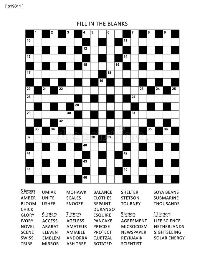 Puzzle page with criss-cross or fiil in word game royalty free illustration