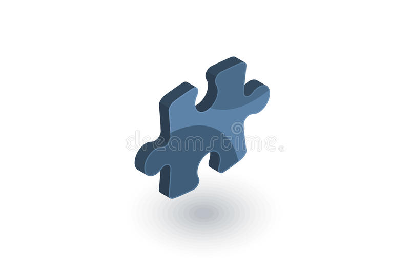 Puzzle part, jigsaw piece, solution isometric flat icon. 3d vector royalty free illustration