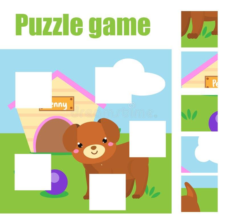 Puzzle per i bambini Completi l'immagine con il cane Gioco educativo per i bambini Foglio di lavoro di tema degli animali illustrazione di stock