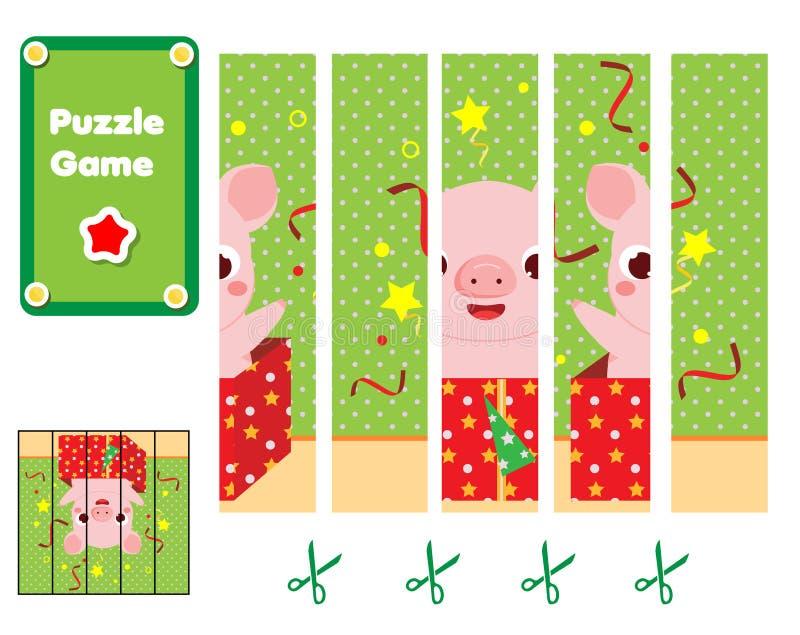 Puzzle per i bambini Gioco educativo dei bambini Completi l'immagine con il maiale del fumetto in contenitore di regalo Feste del royalty illustrazione gratis