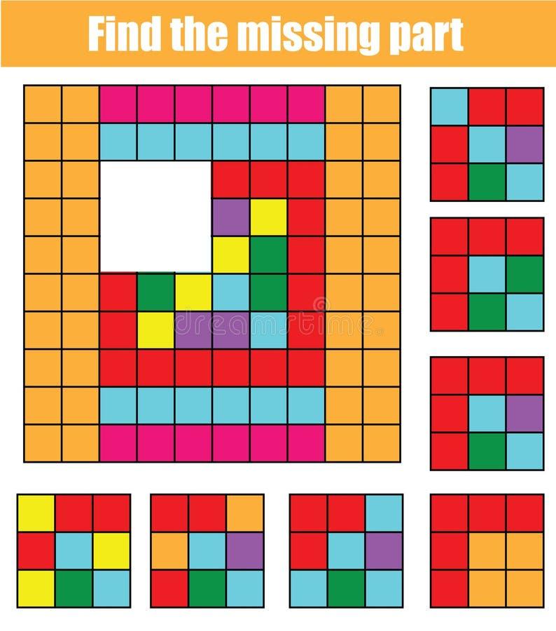 Puzzle per i bambini Trovi la parte mancante dell'immagine Gioco educativo dei bambini con il modello astratto illustrazione vettoriale
