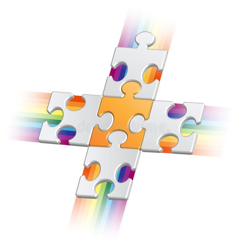 Puzzle piece. Orange puzzle piece on grey pieces with jets stock illustration