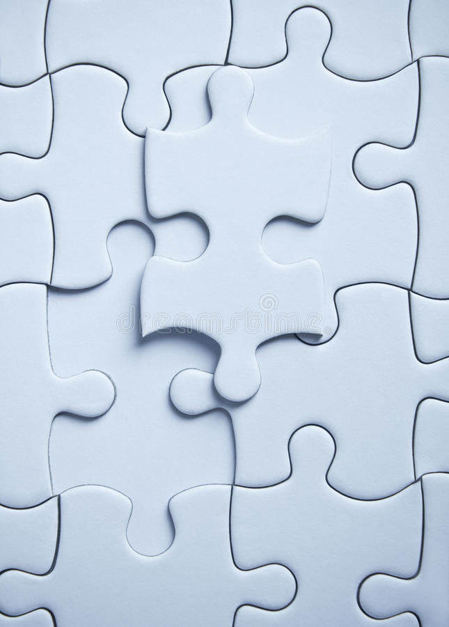 Puzzle piece. Of last .blue color stock photo