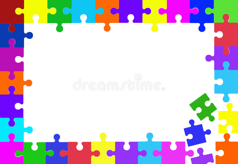 Jigsaw puzzle piece frame stock illustration. Illustration of border ...