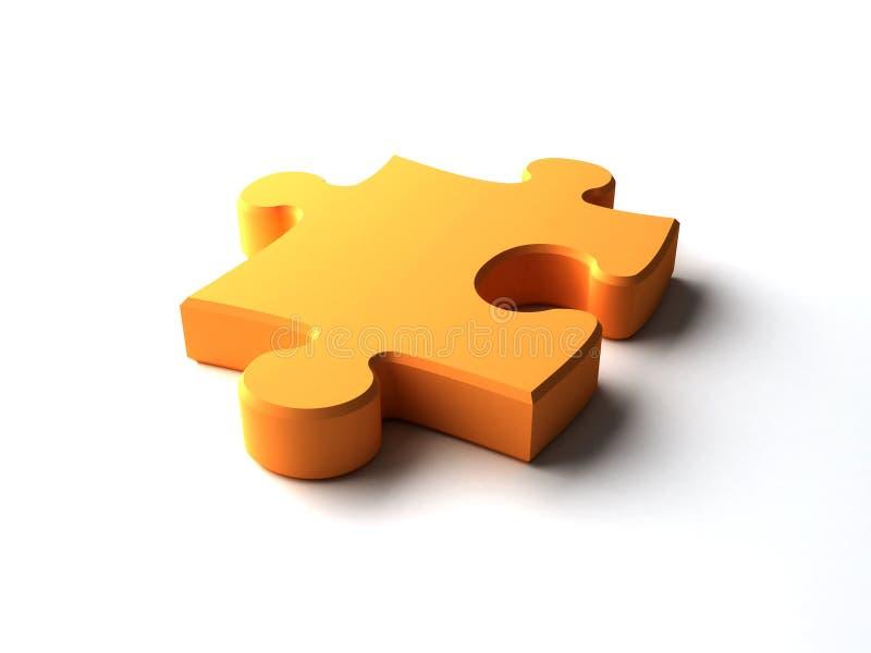 Puzzle piece. An orange plastic puzzle piece