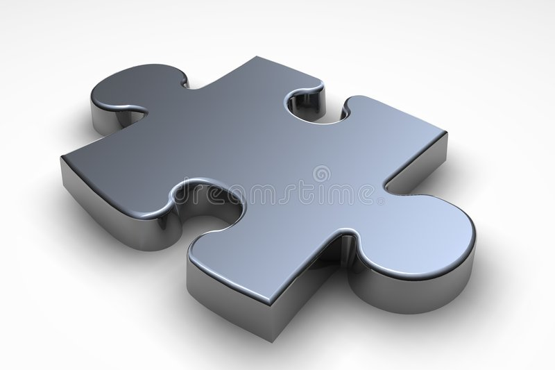 Puzzle piece. Metallic puzzle piece stock illustration