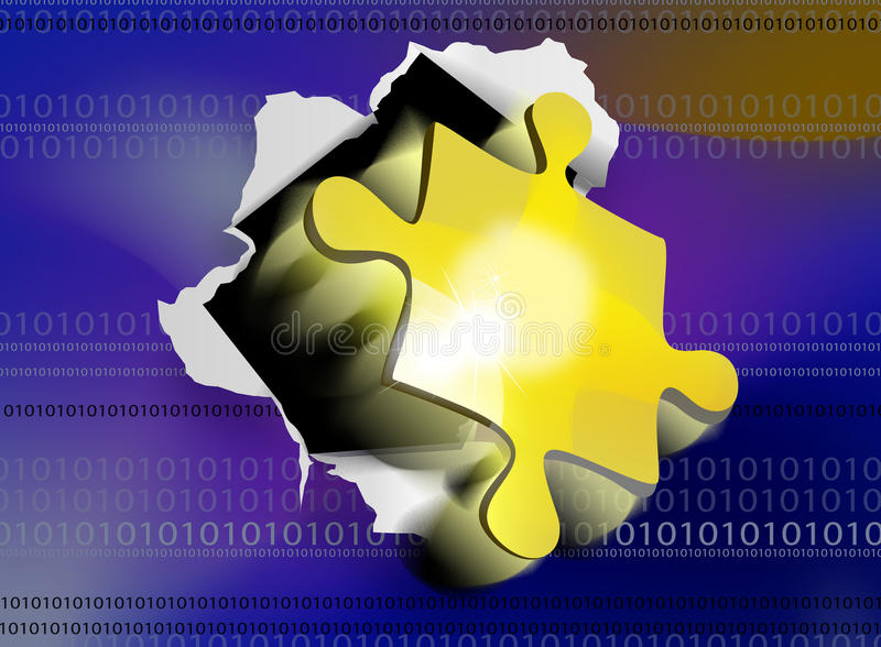 Puzzle piece binary code royalty free illustration