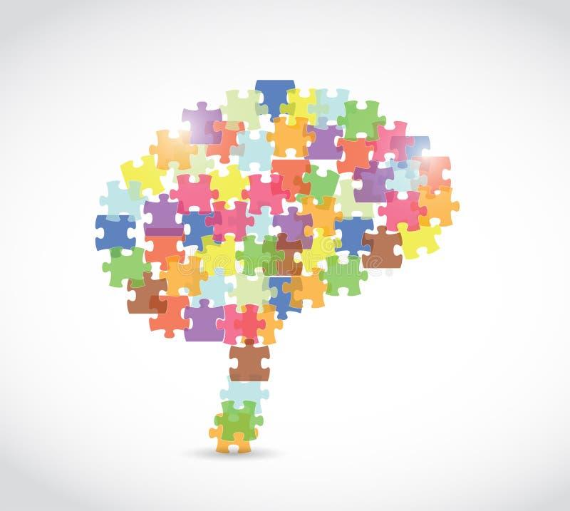 Puzzle piece brain illustration vector illustration