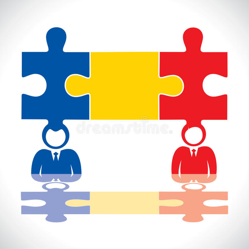Puzzle Piece Connection  With Human Royalty Free Stock Photography