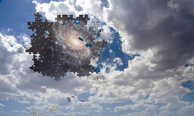 Puzzle piece daytime sky reveals night. Sky royalty free illustration