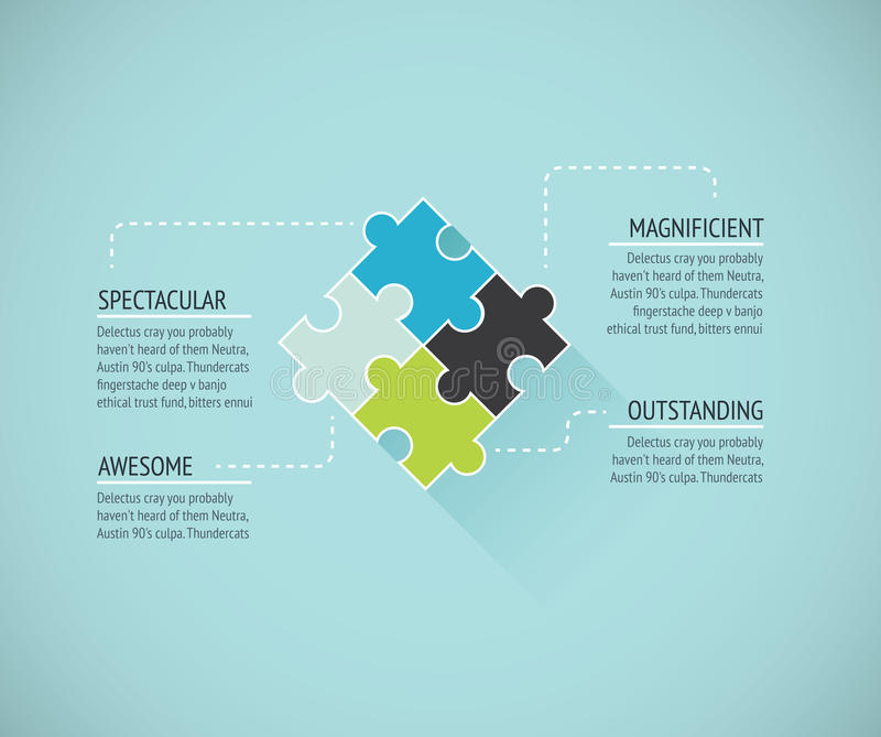 Puzzle piece flat infographics business concept ve vector illustration