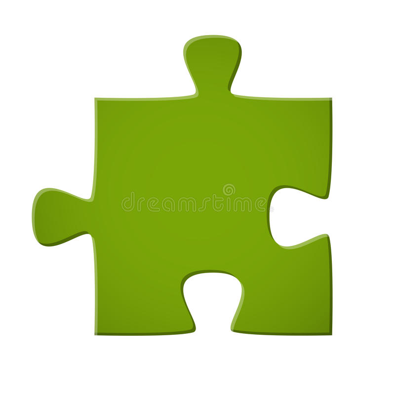 Puzzle piece green. Puzzle piece colored green for connection symbolism royalty free illustration