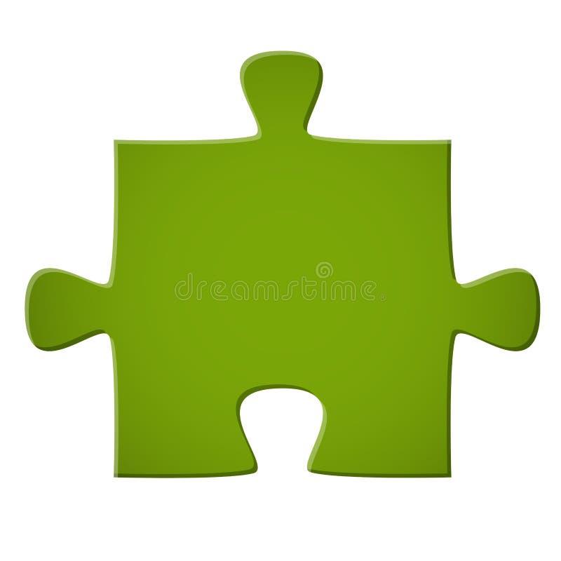 Puzzle piece green. Colored puzzle piece teamwork symbolism vector illustration