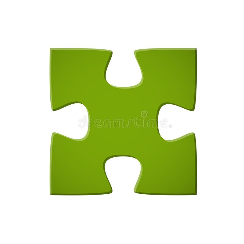 Puzzle piece green. Jigsaw puzzle original green connection process build 3d color colored development success cutout optional isolated creat concept analysis vector illustration