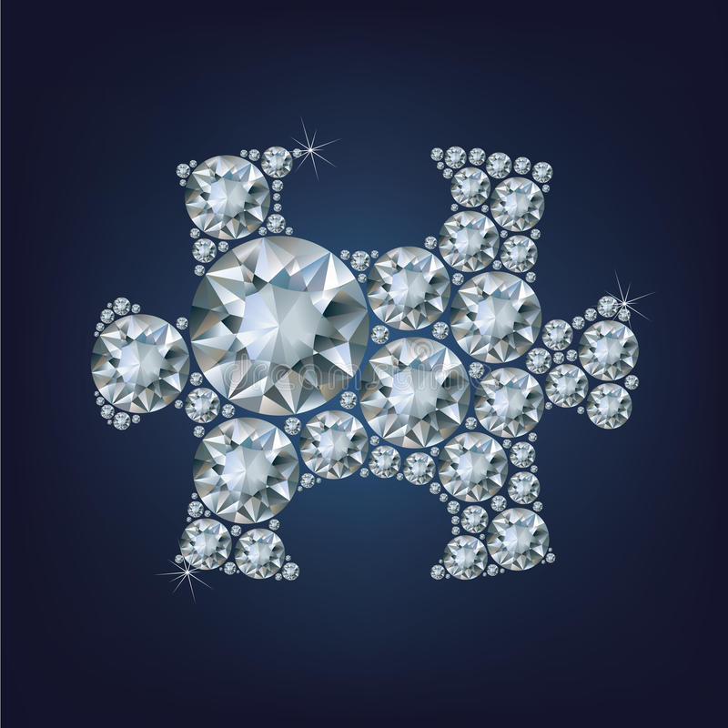 Puzzle piece made a lot of diamond royalty free illustration