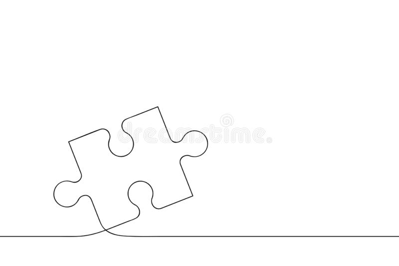 Puzzle piece of one continuous line drawn. Jigsaw puzzle element. Vector vector illustration