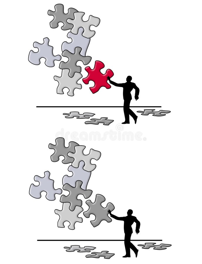 Puzzle Piece Problem Solving. An illustrationf featuring a man putting together a puzzle to represent problem solving royalty free illustration
