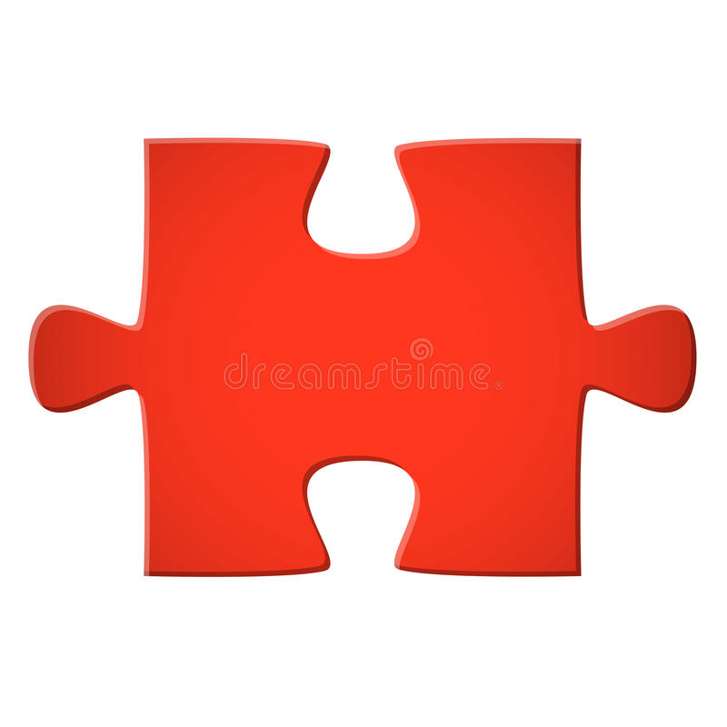 Puzzle piece red. Puzzle piece colored red for connection concepts stock illustration
