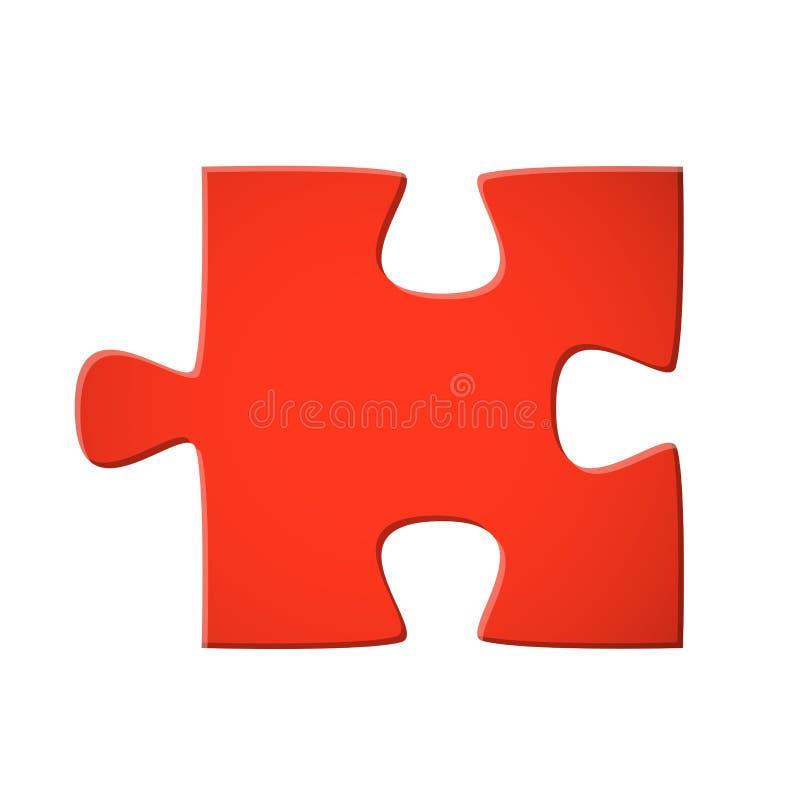 Puzzle piece red. Colored puzzle piece teamwork symbolism vector illustration