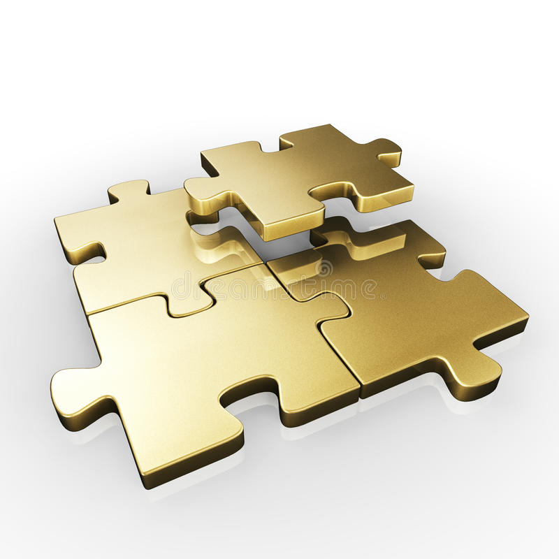 PUZZLE PIECES. Isolated four gold puzzle pieces vector illustration