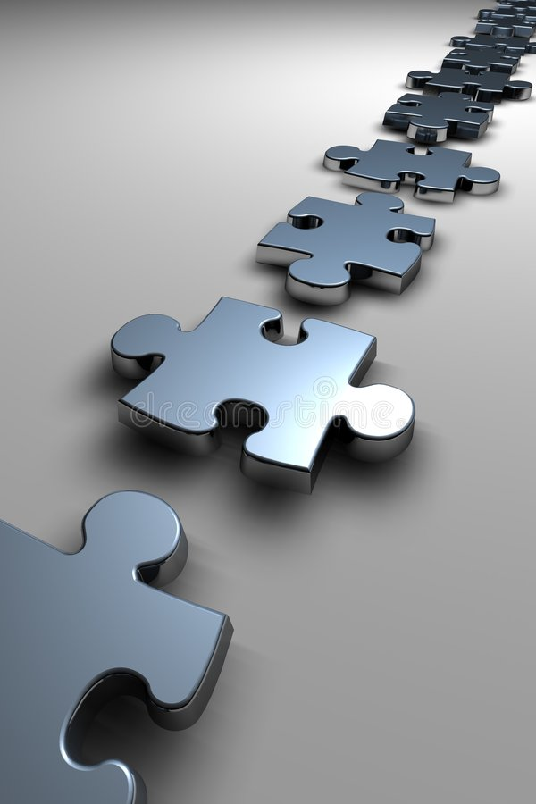 Puzzle pieces. Line of metallic puzzle pieces stock illustration