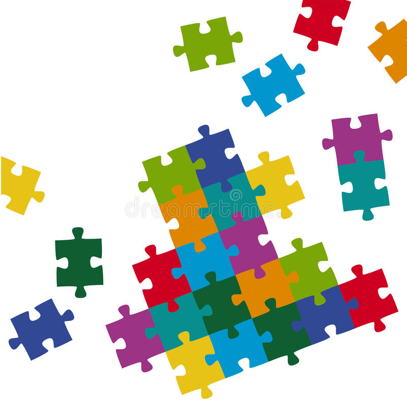 Puzzle pieces background colored stock illustration