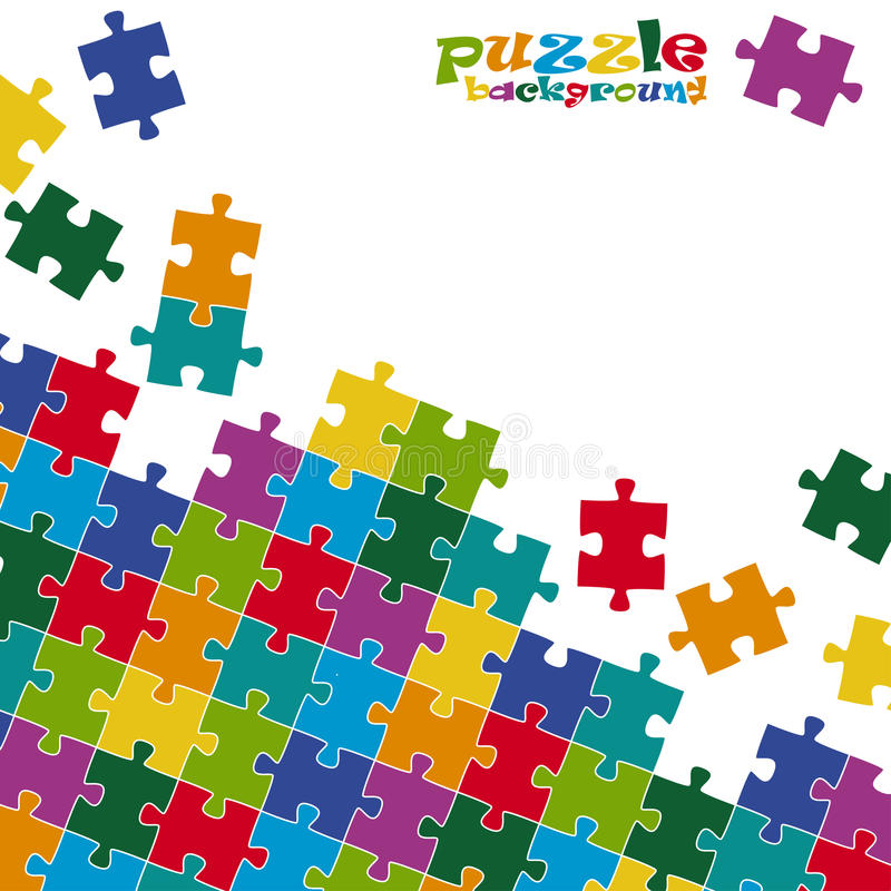 Puzzle pieces background colored vector illustration