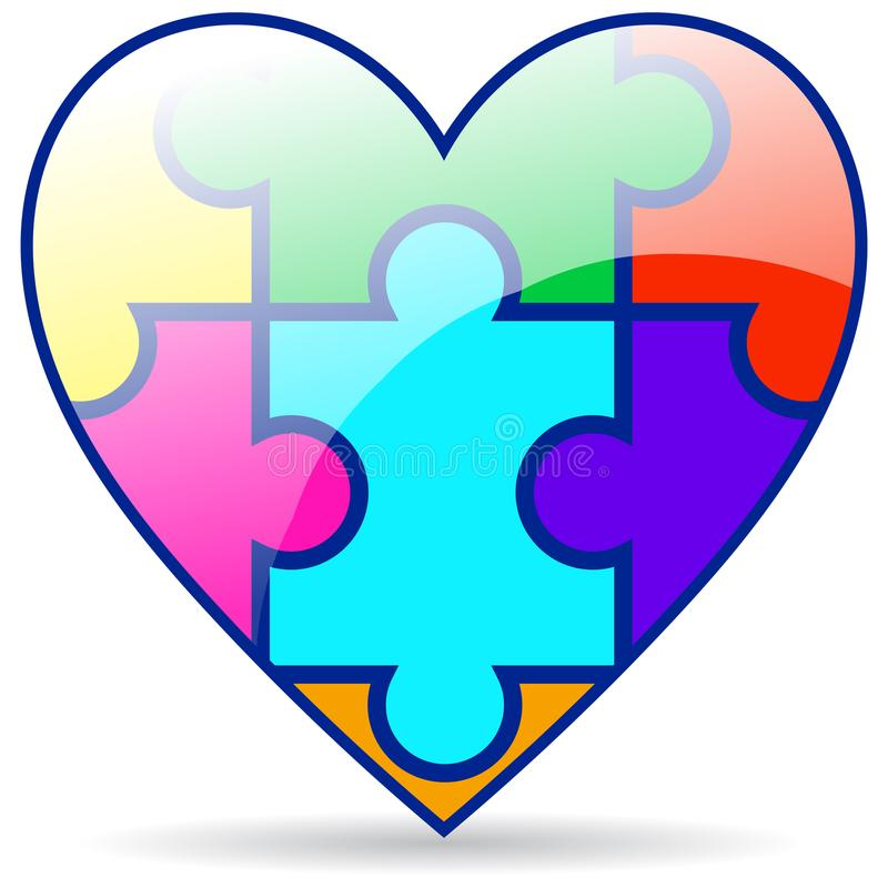 Puzzle pieces colorful heart on white royalty free illustration