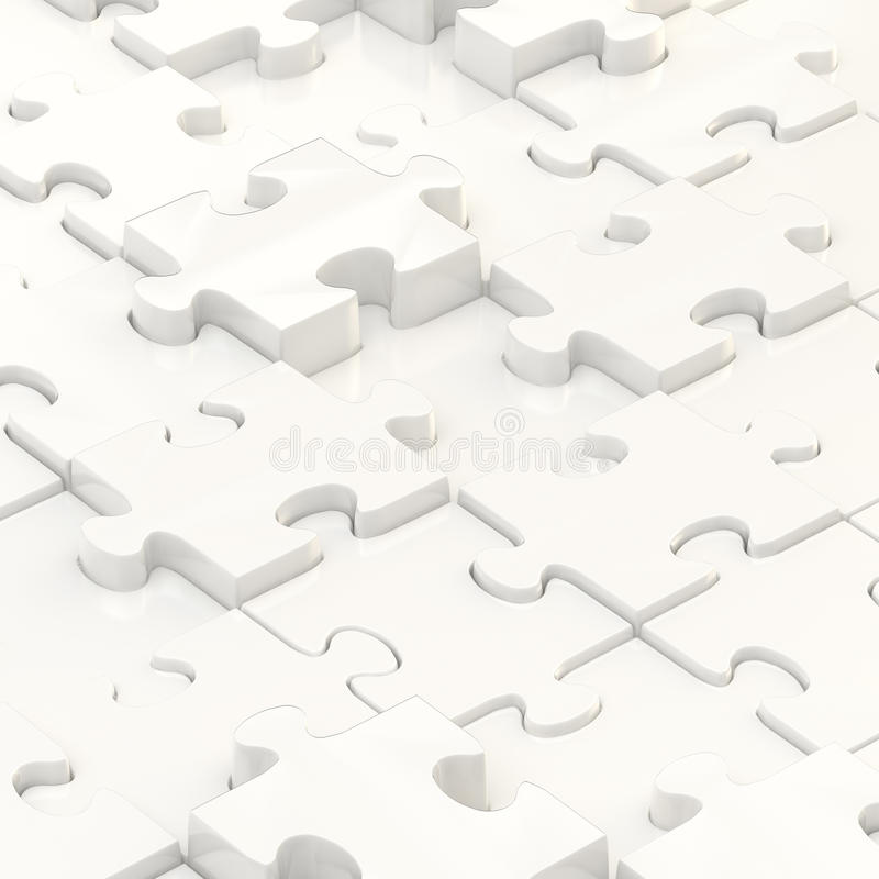 Puzzle pieces covered surface. White puzzle pieces covered surface as an abstract background composition stock illustration
