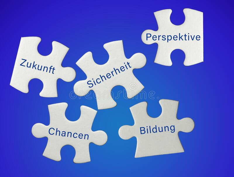 Puzzle pieces with the German translation future security education opportunities perspective stock image