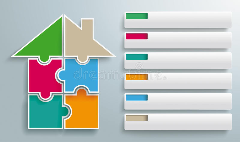 Puzzle Pieces House 6 Tabs stock illustration