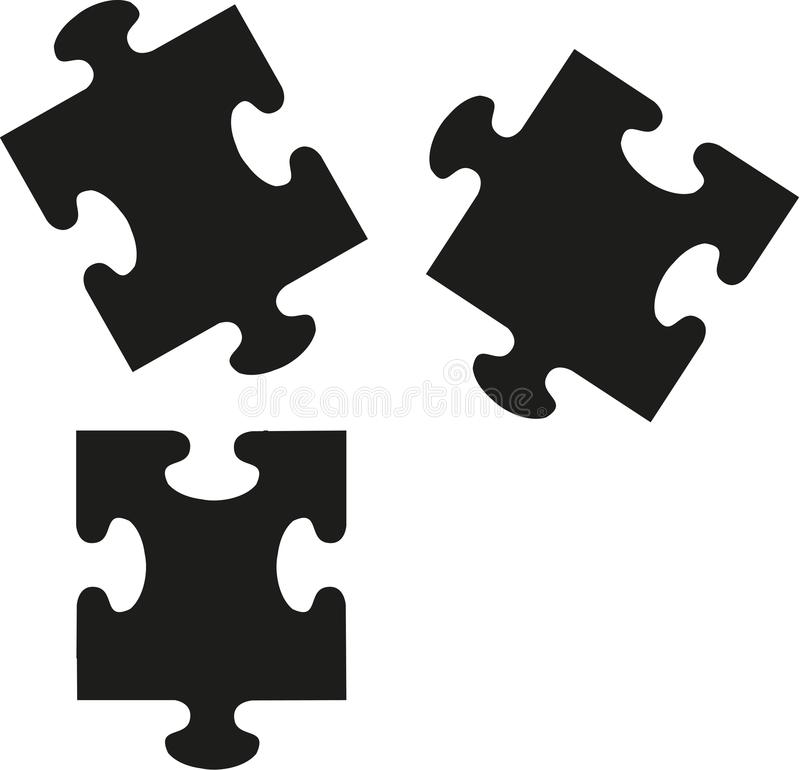 Puzzle pieces icons. Jigsaw vector stock illustration