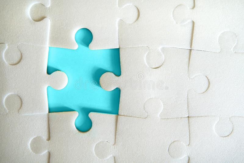Puzzle pieces put together. stock photo