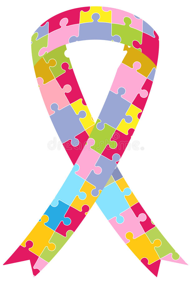 Puzzle Pieces Ribbon royalty free illustration