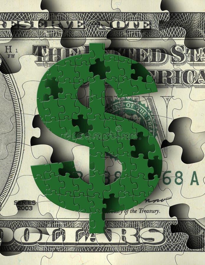 puzzle pieniądze royalty ilustracja