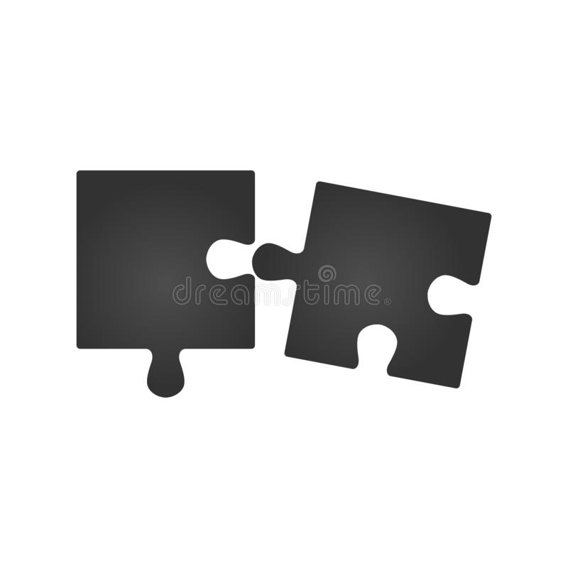 Puzzle plat de double morceau En deux parties comparez la bannière de service Illustration de vecteur illustration de vecteur