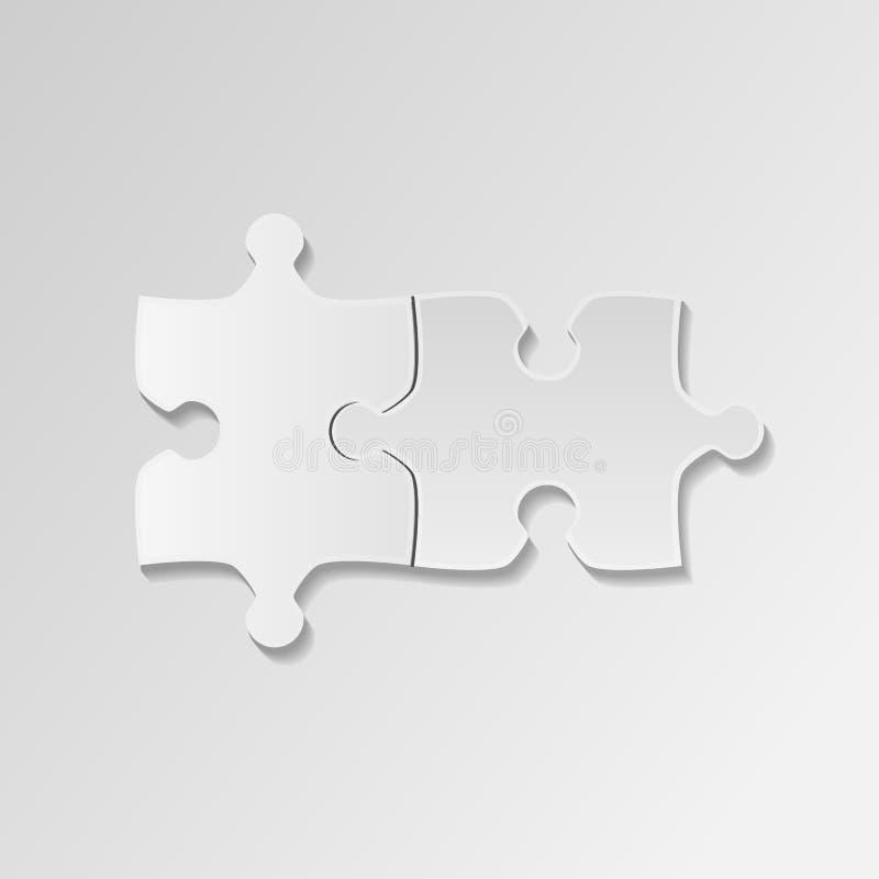 Puzzle plat de morceau de deux blancs Fond de blanc d'icône de puzzle Vecteur illustration de vecteur