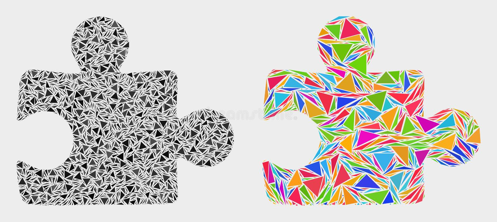 Vector Puzzle Plugin Mosaic Icon of Triangle Items stock illustration
