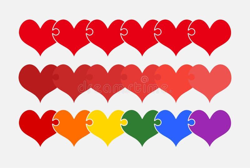 Puzzle réglé de morceaux de couleur des trois coeurs romantiques illustration stock