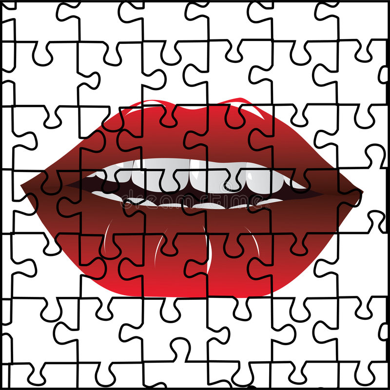 Puzzle and red lips vector illustration