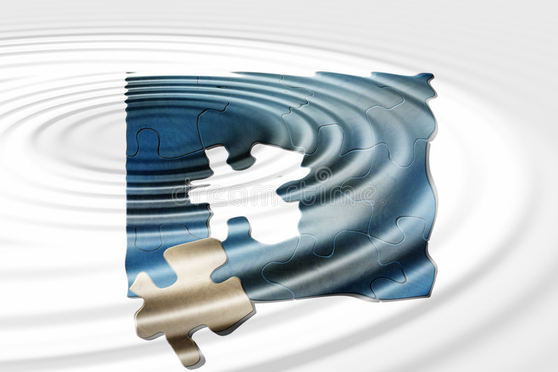 Puzzle reflections. Puzzle in water reflection vector illustration