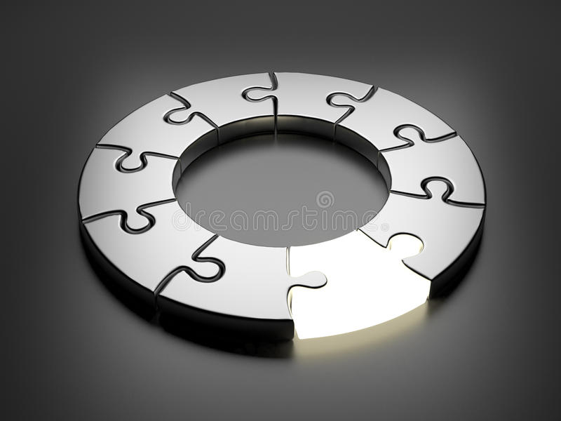 Puzzle ring 3D. Innovation concept. On gray vector illustration