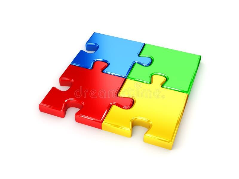 Puzzle risolto dal grafico a torta blu, rosso, verde e giallo illustrazione vettoriale