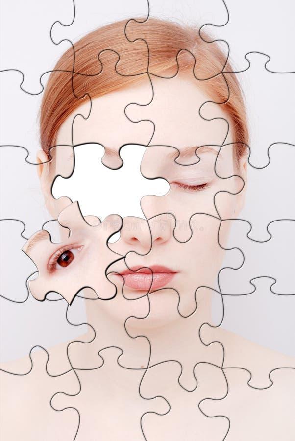 Puzzle. Ritratto della donna fotografie stock libere da diritti