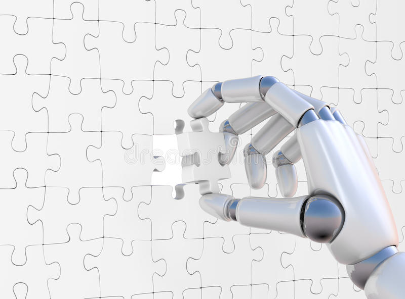 Puzzle in robohand. Puzzle in hand of robot on white background stock illustration