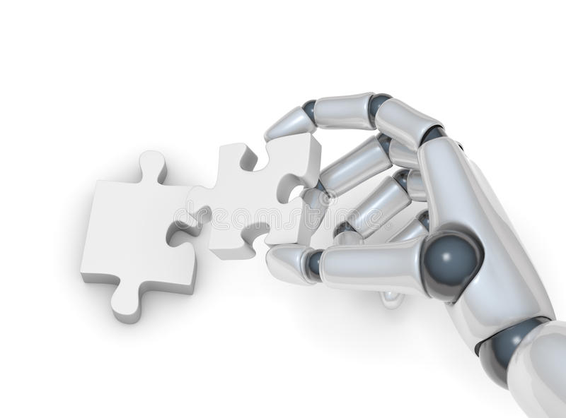 Puzzle in robohand. Puzzle in hand of robot on white background vector illustration