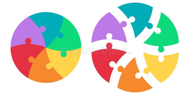 Puzzle rond des secteurs colorés triangulaires, puzzle d'infographics de calibre de vecteur, flèches infographic de puzzle de cer illustration de vecteur